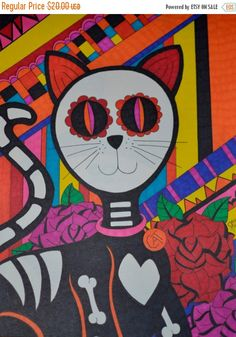 CIJSALE Day of the Dead Cat with Roses, 9x12 Sharpie Drawing, Sugar Skull Cat Dia De Los Muertos, Original Colorful Alternative Gift Wall De