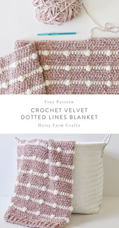 Free Pattern - Crochet Velvet Dotted Lines Blanket - verena - Baby Knits Crochet For Beginners Blanket, Crochet Blanket Patterns, Baby Blanket Crochet, Crochet Stitches, Knitting Patterns, Crochet Blankets, Afghan Patterns, Crochet Afghans, Crochet Granny