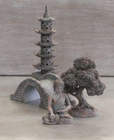 Buddha Garden Oasis Set, Miniature Statue & Zen Garden Set