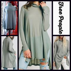 "FREE PEOPLE Tunic Swing Mini Oversized Boyfriend  NEW WITH TAGS   ***Model photos utilized in this listing were found on www.lyst.com Free People Mock Neck Swing Top Tunic Mini  * Relaxed & flowy fit; Lightweight knit fabric  * Mock neck Turtleneck long sleeves, loose knit  * Lightly 'washed feel'  * About 32.5"" long  * Hem drapes longer on sides  Fabric: 53% Cotton, 37% & 10% Rayon Color: Jade (sage green w/a hint of grey)125800  No Trades ✅Offers Considered*✅ *Please use the blue 'offer'…"