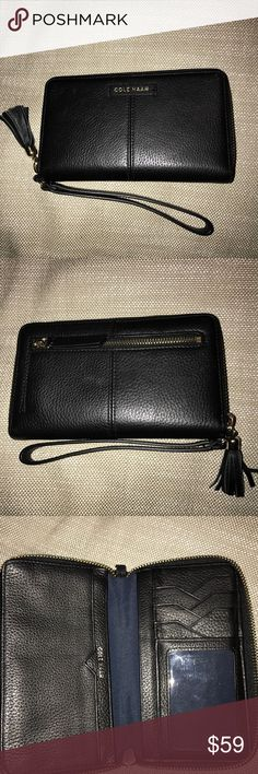 """Cole Haan pebble leather smartphone wallet In excellent pre-owned condition by me.  No scratches or signs of wear.  Slots for cards, iD, cash and coins.  Also can zip up a large phone inside (mine is an IPhone 7plus which fit zipped up). Measures:6 5/8"""" x 3 7/8""""/1"""" wide Cole Haan Bags Wallets"""