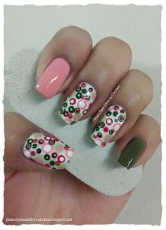 """RED, GREEN & PINK POLKA DOTS **FOR DETAILS FOLLOW MY BLOG OR DO """"LIKE"""" TO MY FACEBOOK, would be great!! All comments are welcome!!! https://www.facebook.com/glamstylenailsbycarolina **"""