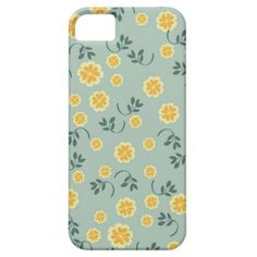 Retro buttercup yellow & blue floral heart pattern iPhone 5 cover