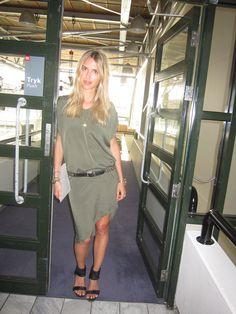 Dress-GESTUZ.  olive green.