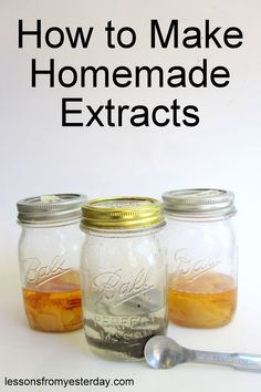 How to Make Homemade Extracts - Lessons From Yesterday Homemade Spices, Homemade Seasonings, Homemade Vanilla, How To Make Homemade, Spice Blends, Spice Mixes, Dehydrated Food, Canning Recipes, Baking Tips