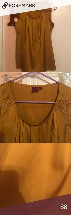 Work top tank in shiny mustard yellow Work sleeveless top in shiny mustard yellow 212 Collection Tops Blouses