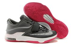 official photos fb81d c6cf4 Nike Zoom KD 7 VII Charcoal Grey White and Hyper Pink Basketball Trainers  Jordan Shoes For
