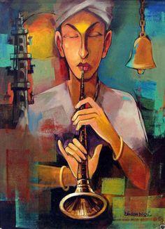 Dinesh Desai Painting - SuchitrraArts.com Indian Art Paintings, Unique Paintings, Oil Paintings, Indian Contemporary Art, Modern Art, Banksy, Indian Arts And Crafts, Outdoor Wall Art, Indian Artist