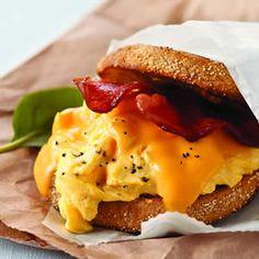 Grab-and-Go Breakfast Sandwich.  1/4 cup cholesterol-free egg product  1 English muffin, split, toasted  1 Kraft 2% Milk Sharp Cheddar Singles  1 slice Oscar Mayer Turkey Bacon, cooked, cut crosswise in half