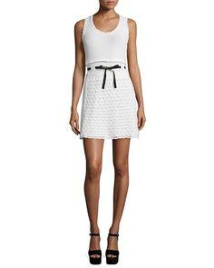 RED Valentino Sleeveless Scoop-Neck Crochet Dress, Ivory/White,at neiman marcus