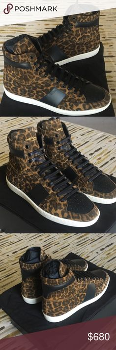 Saint Laurent 10 hi sneaker leopard🔥🔥🔥 Saint Laurent leopard print suede with perforated dark navy blue leather toe box, wax coated laces Gold Saint Laurent letters. One of best shoe silhouettes ever in my opinion. Brand New comes with shoe bags and extra laces Saint Laurent Shoes Sneakers