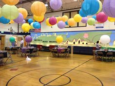 Decorated our school gym with the theme Oh, the Places You'll go!