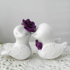 Love Birds Wedding Cake Topper White and Plum Purple by LavaGifts