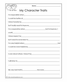 Printables Character Education Worksheets worksheets cards and building on pinterest my character traits social skills worksheets