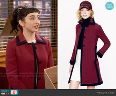 Mandy's dragonfly print top and red coat with navy trim on Last Man Standing.  Outfit Details: https://wornontv.net/65368/ #LastManStanding
