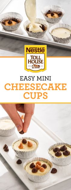A classic cheesecake dessert with a chocolate twist! These Easy Mini Cheesecake Cups feature delicious varieties of Nestle Toll House Chocolate Chips. Add flavors like butterscotch and milk chocolate to this tasty party treat!