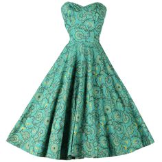 Vintage 1950's Tiana Pittelle Strapless Dress   From a collection of rare vintage day dresses at https://www.1stdibs.com/fashion/clothing/day-dresses/