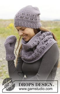 "Tell ME by DROPS Design Crochet hat, neck warmer and mitten with lace pattern in ""Nepal"""