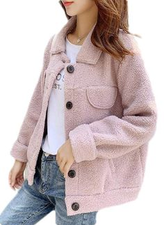 ouxiuli Womens Classic Fuzzy Fleece Coat Oversized Pullover Sweatshirt Outwear with Pockets