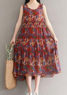 Women loose fitting over plus size retro flower Bohemian dress Boho tunic beach #Unbranded #dress #Casual