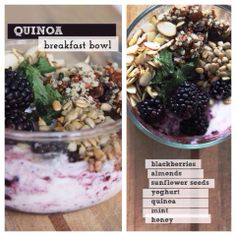 Quinoa breakfast bowl with blackberries, almonds, sunflower seeds, yogurt, mint and honey. Healthy Recipes For Weight Loss, Healthy Dinner Recipes, Healthy Snacks, Healthy Eating, Healthy Breakfasts, Eating Clean, Stay Healthy, Clean Recipes, Raw Food Recipes