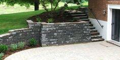 Patio retaining wall, like this look