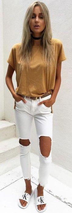 #fall #trending #outfits | Camel Tee + Ripped White Jeans