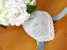 How To Wrap A Wedding Bouquet With A Personalized Handkerchief - diy gift idea for the bride