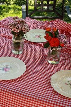 Grandma's china & red gingham tablecloth!