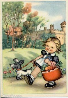 Mariapia postcard, This little illustration reminds me of my cousin Halle. Vintage Pictures, Vintage Images, Cute Pictures, Images Victoriennes, Spring Scene, Retro Kids, Vintage Drawing, Retro Illustration, Vintage Easter