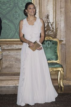 Crown Princess Victoria of Sweden attends the Sweden Dinner at the Royal Palace of Stockholm on 22 September 2017. The aim of the Sweden Dinner is to recognise people who have made significant local, regional or national contributions.