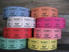 Ticket Stubs Roll Fair Carnival Raffle Tickets by TheWeddingHouse