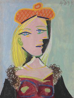 PABLO PICASSO (1881-1973) FEMME AU BÉRET ORANGE ET AU COL DE FOURRURE (MARIE-THÉRÈSE)