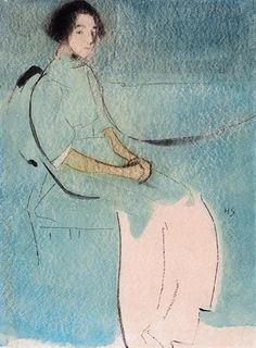 Artwork by Helene Schjerfbeck, Kostymbild, eller Bagarens dotter (Costume Picture, or The Baker's Daughter), Made of watercolour and charcoal on paper Helene Schjerfbeck, Painting People, Figure Painting, Photocollage, Famous Art, Girl Reading, Portrait Art, Figurative Art, Finland