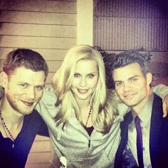 Joseph Morgan (Klaus), Claire Holt (Rebekah) and Daniel Gillies (Elijah) on the set of The Vampire Diaries and The Originals. Daniel Sharman, Daniel Gillies, The Vampire Diaries, Vampire Diaries The Originals, Charles Michael Davis, Nathaniel Buzolic, Danielle Campbell, Joseph Morgan, Stefan Salvatore