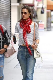 Alessandra Ambrosio Urban Outfit - Out in Los Angele Ways To Wear A Scarf, How To Wear Scarves, Urban Outfitters, Red Scarf Outfit, Casual Outfits, Fashion Outfits, Womens Fashion, Paris Mode, Looks Street Style
