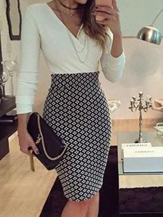 White pencil dress with puff sleeves