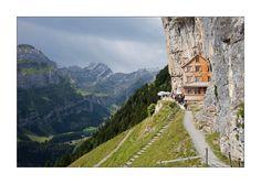 Aescher-Wildkirchli on Mountain Säntis in Appenzell, Switzerland