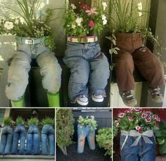 Recycled jean for plant pot co |