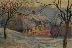 Thatched Cottage in Winter Snow