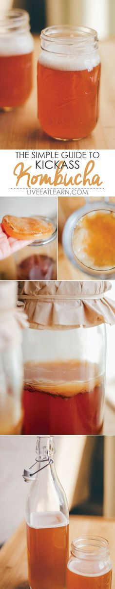 A complete guide on how to make kombucha, all the way from the SCOBY to the fruity fermenting flavors! You just need tea, sugar, and a bottle of store-bought kombucha to get started. Homemade kombucha is such and easy, healthy, and delicious drink to make. Here's how to do it!