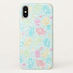 Summer Pastel Watercolor Brush Strokes Pattern iPhone X Case - red gifts color style cyo diy personalize unique