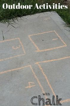 Find fun and educational ideas to have a good time outdoors and learning with chalk!  From letters, numbers and shapes to learning ones name and sight words, find it all here!  #chalk #outside #prek #preschool #kindergarten #elementary