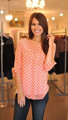 Dottie Couture Boutique - Polka Dot Blouse- Orange, $32.00 (http://www.dottiecouture.com/polka-dot-blouse-orange/)