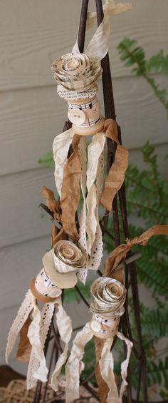 Petite Vintage Wooden Spool Ornament by LavenderPosies, $4.75