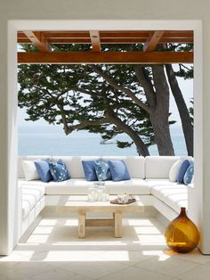 blue + white with ocean view