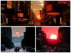 Awesome photos captured at last years Manhattanhenge event! #NYC #Manhattanhenge #sunsets