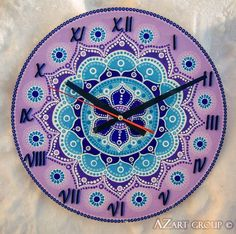 Periwinkle wooden mandala clock from azart_group by dawanda. Clock Painting, Clock Art, Dot Art Painting, Mandala Painting, Mandala Art, Cd Art, Free To Use Images, Mandala Rocks, Christmas Ornament Crafts