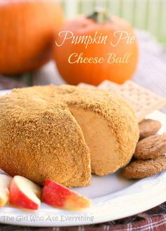 "Pumpkin Pie ""Cheese"" Ball  2 (8 ounce) packages cream cheese, slightly softened 1/4 cup butter, softened 2 cups powdered sugar 3 Tablespoons brown sugar 3/4 cup pumpkin puree 1 Tablespoon pumpkin pie spice (see Notes for substitute) 1 1/2 cups crushed gingersnap cookies"