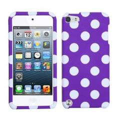 Amazon.com: Purple White Polka Dots Hard Cover Case for Apple iPod Touch 5 5th Gen: MP3 Players & Accessories